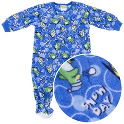 Blue Penguin Footed Sleeper for Infant and Toddler Boys