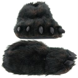Fuzzy Black Bear Paw Slippers for Women