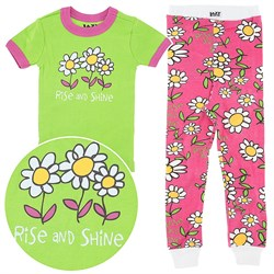 Lazy One Rise and Shine Short Sleeve Pajamas for Girls