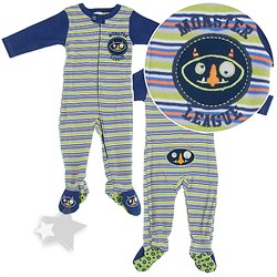 Image of Monster Cotton Footed Sleeper Pajamas for Baby Boys