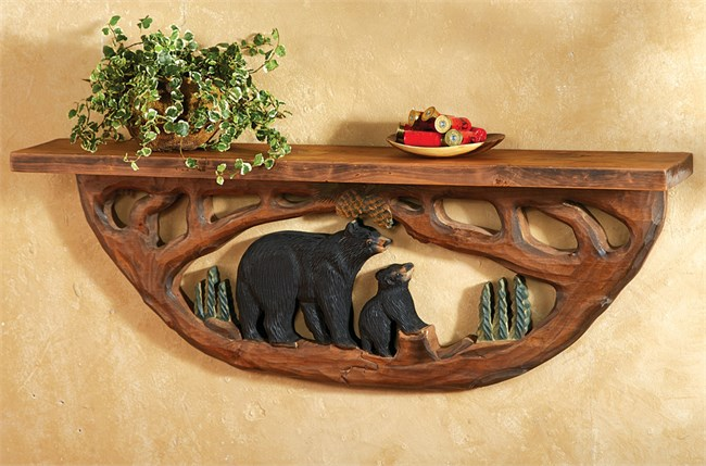 Carved Wood Bear Family Wall Shelf
