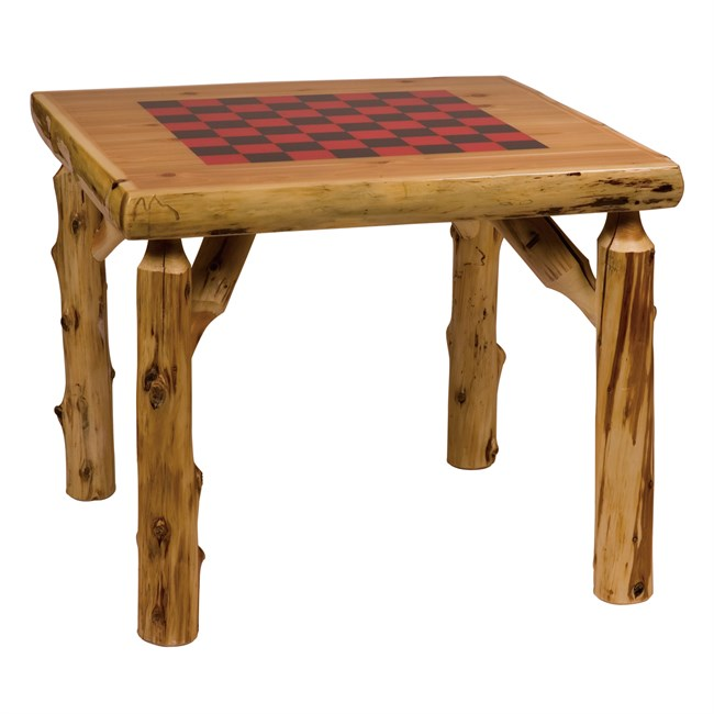 Cedar Log Game Table with Checkerboard Top - 32 Inch