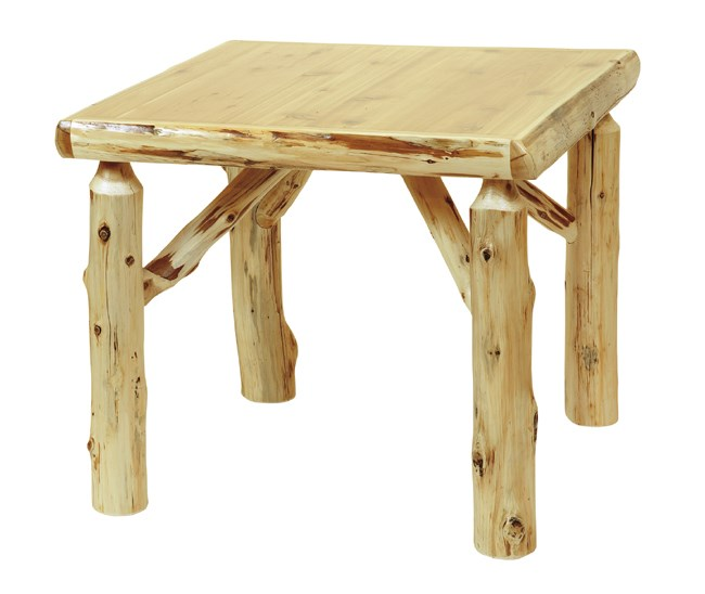 Log Game Table w\/Liquid Glass Finish - 32 Inch