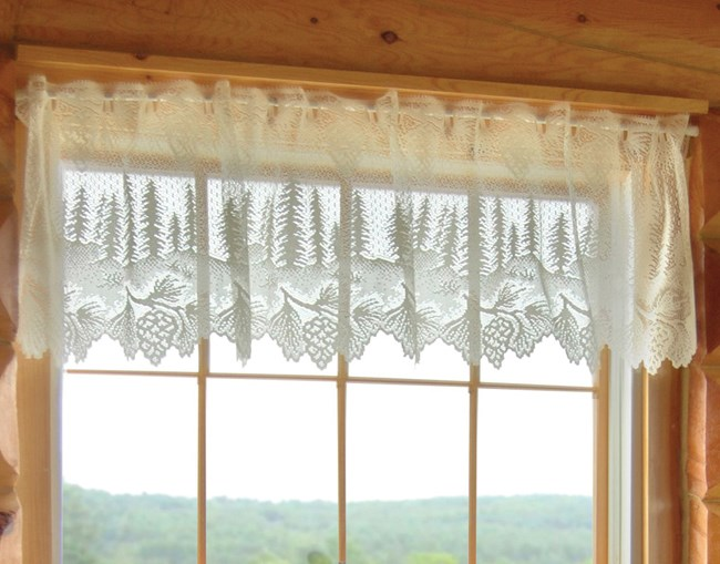 Click to buy rustic window treatments pinecone lace for Log cabin window treatments