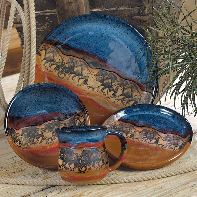 Wild Horses Pottery Dinnerware - 4 pcs : hand thrown pottery dinnerware - pezcame.com