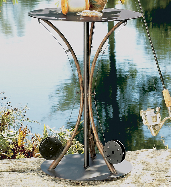Black Forest Decor 3-fishing pole end table