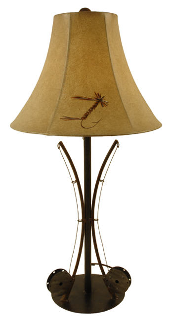 Black Forest Decor 3-fishing pole table lamp