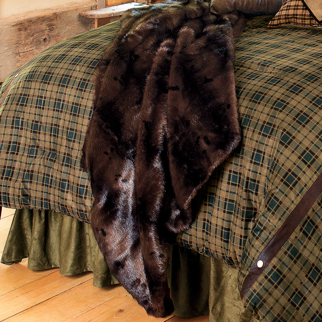 Black Forest Decor Brown bear microfiber faux fur throw