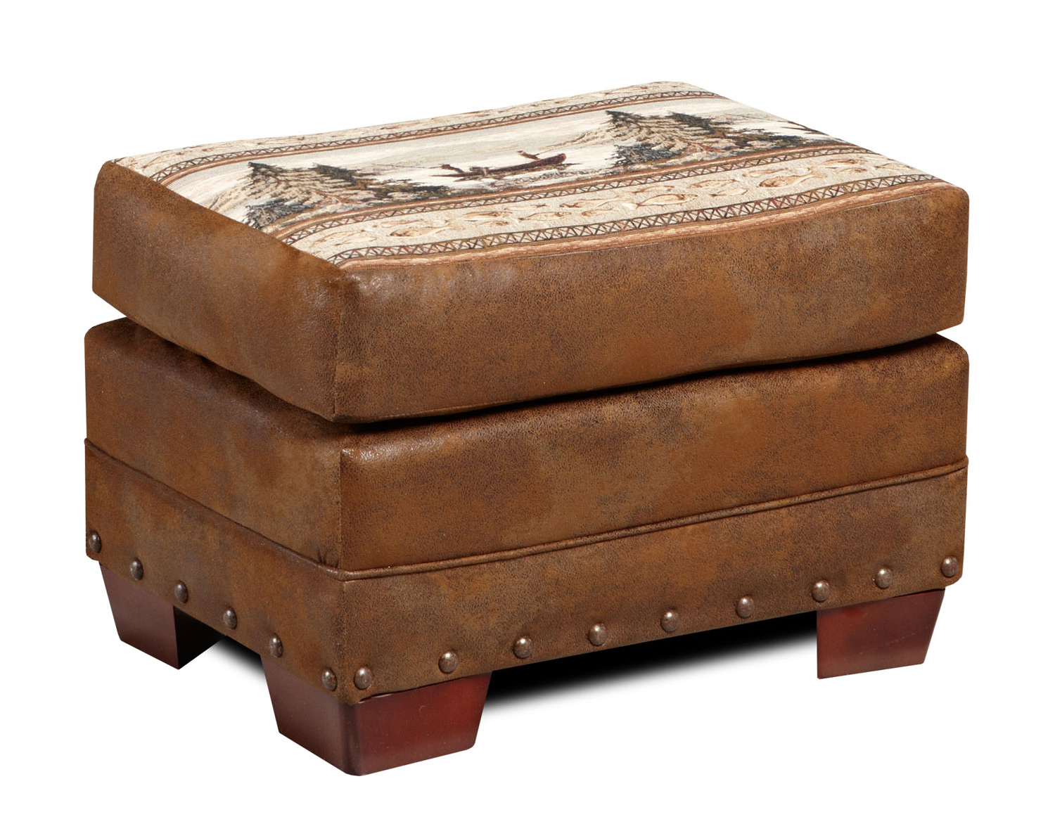 Black Forest Decor Mountain lake ottoman