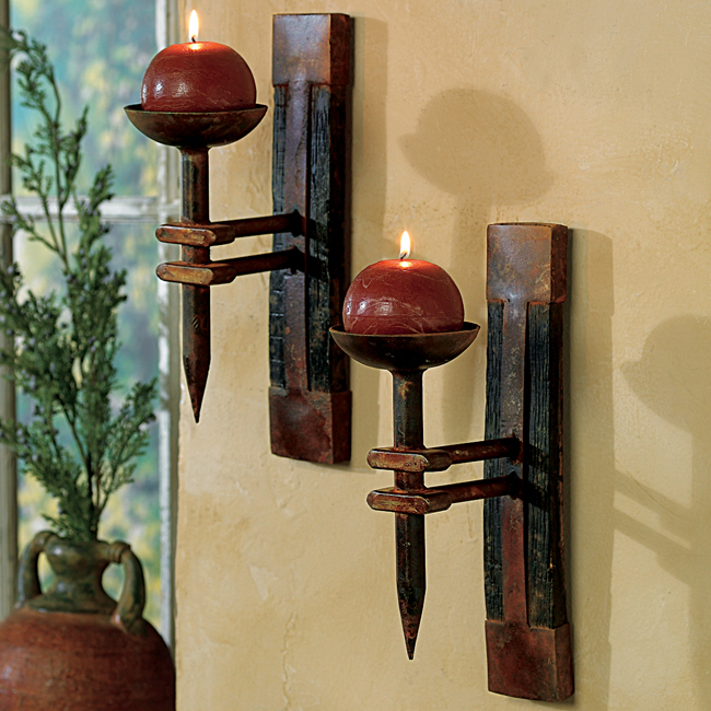 Black Forest Decor Tequila barrel wall candle holder