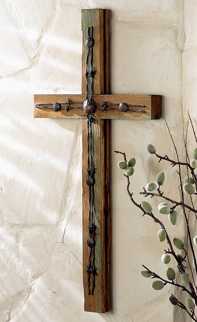 Black Forest Decor Old wood cross w/ barbed wire