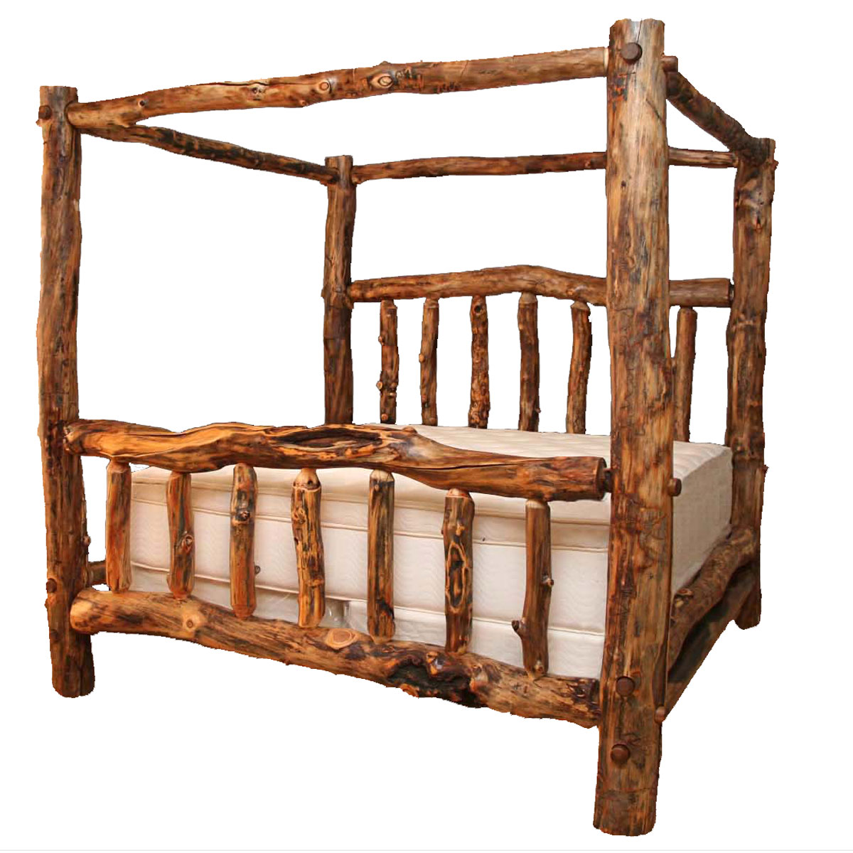 - Log Beds: Queen Size Aspen Creek Canopy Bed|Black Forest Decor