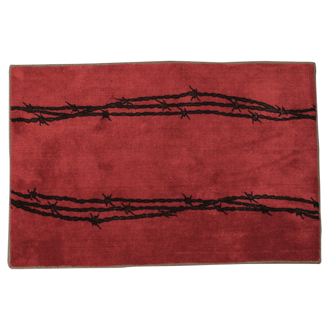 Black Forest Decor Barbed wire red bath rug
