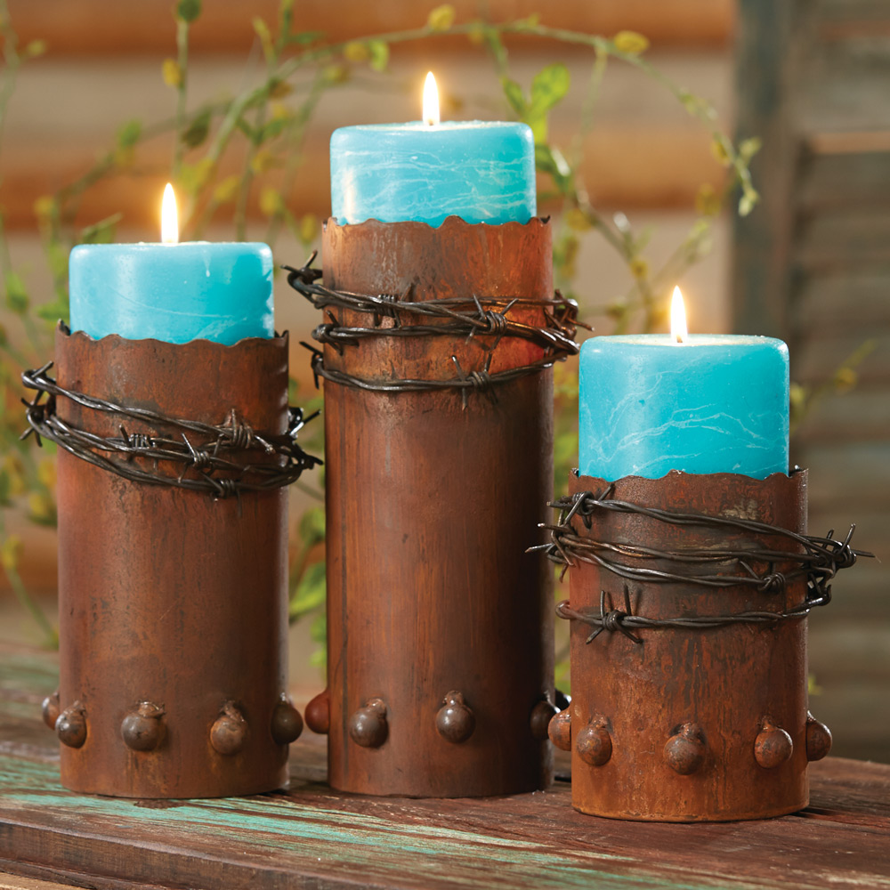 Black Forest Decor Barbed wire candle holders with candle...