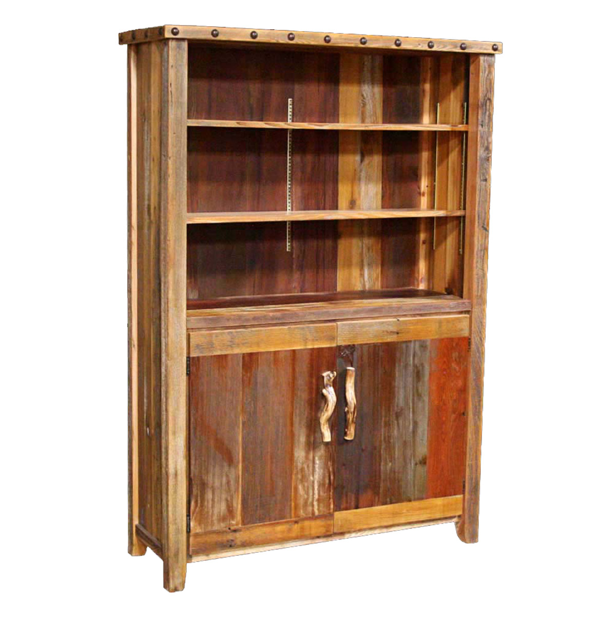 Black Forest Decor Barnwood 2 door bookcase with nailheads