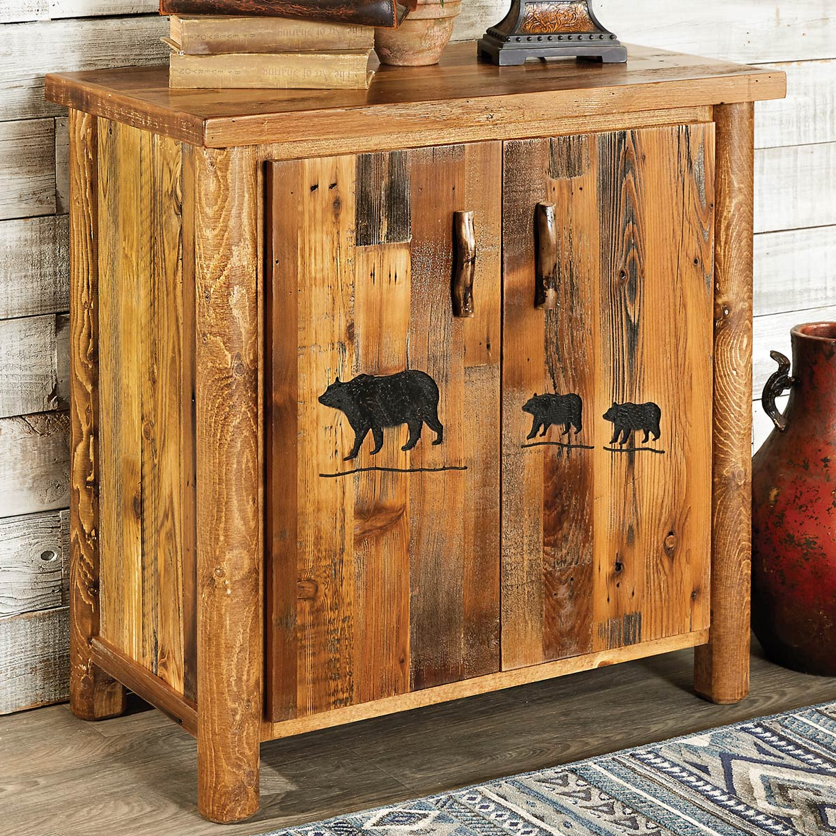 Black Forest Decor Barnwood 2 door cabinet with bear carving