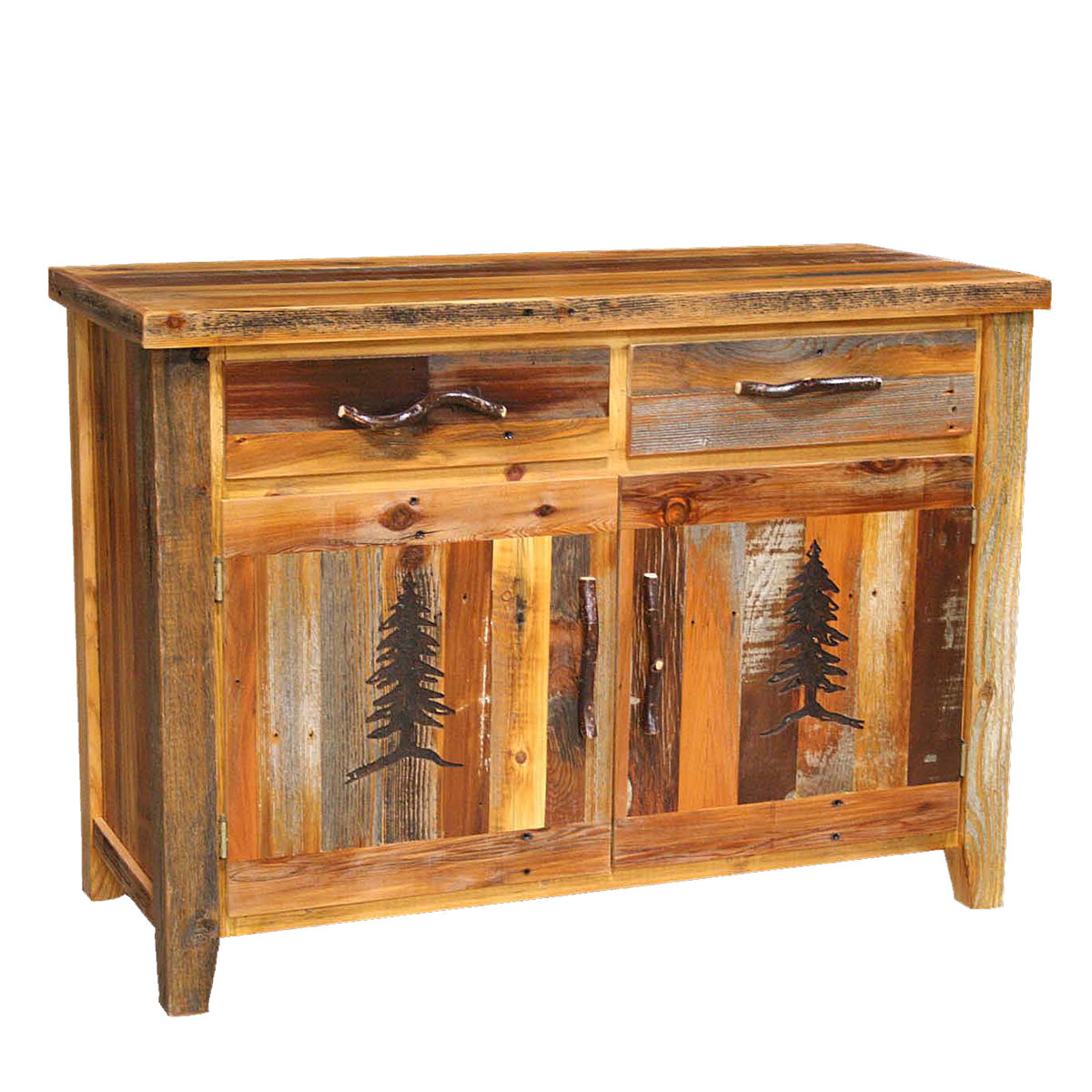 Black Forest Decor Barnwood 2 drawer/2 door buffet with t...