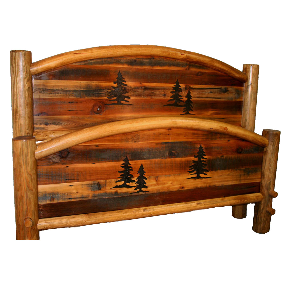 Black Forest Decor Barnwood arched bed with tree carvings...