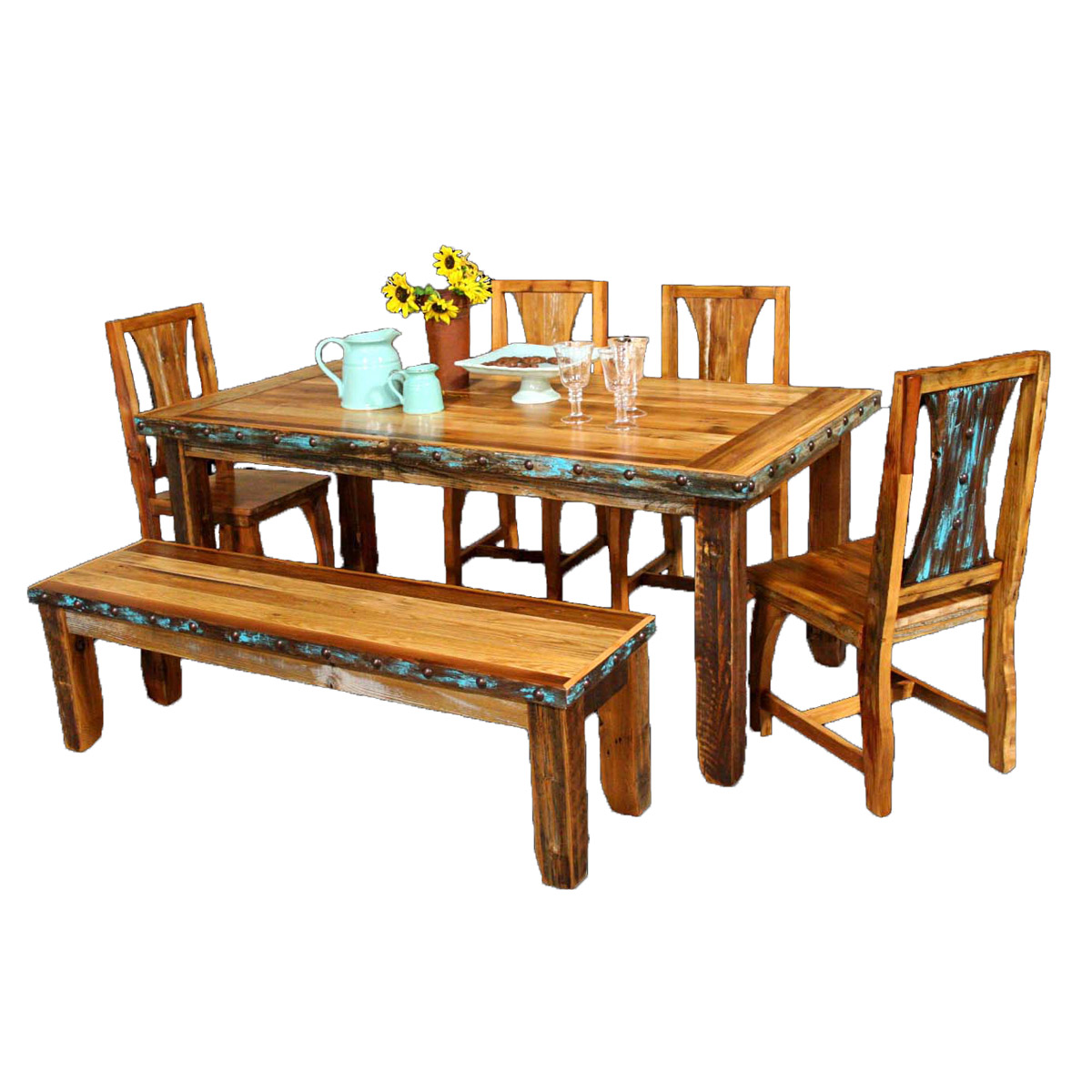 Black Forest Decor Barnwood azul table & chairs with benc...