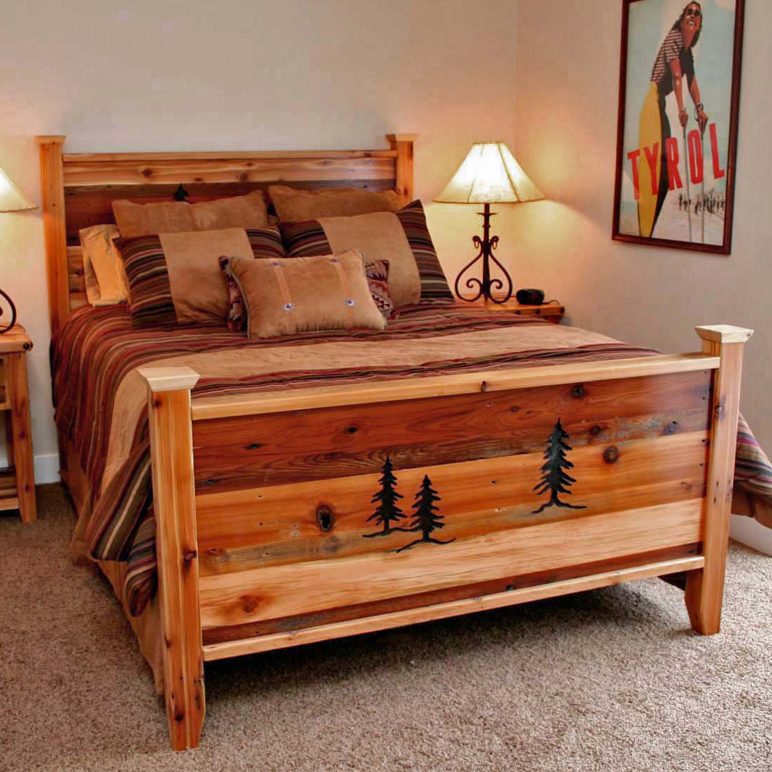 Black Forest Decor Barnwood bed with tree carvings - queen