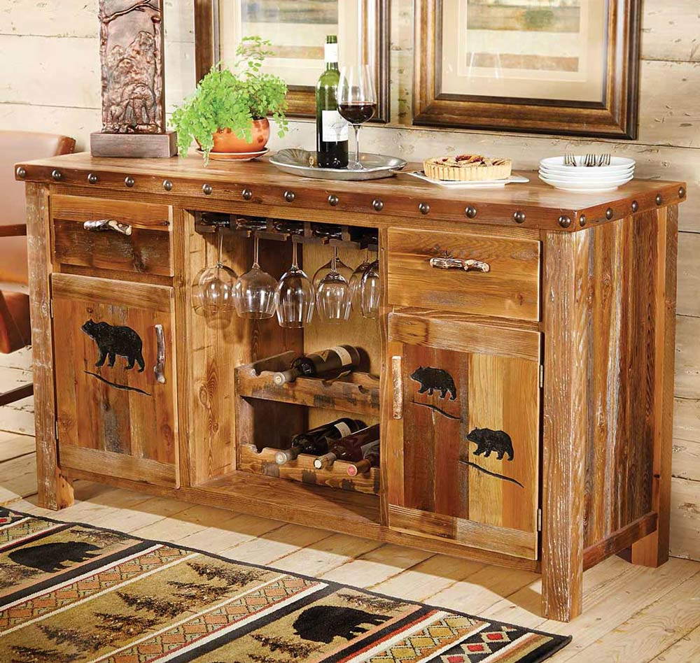 Black Forest Decor Barnwood buffet w/ carved bear designs