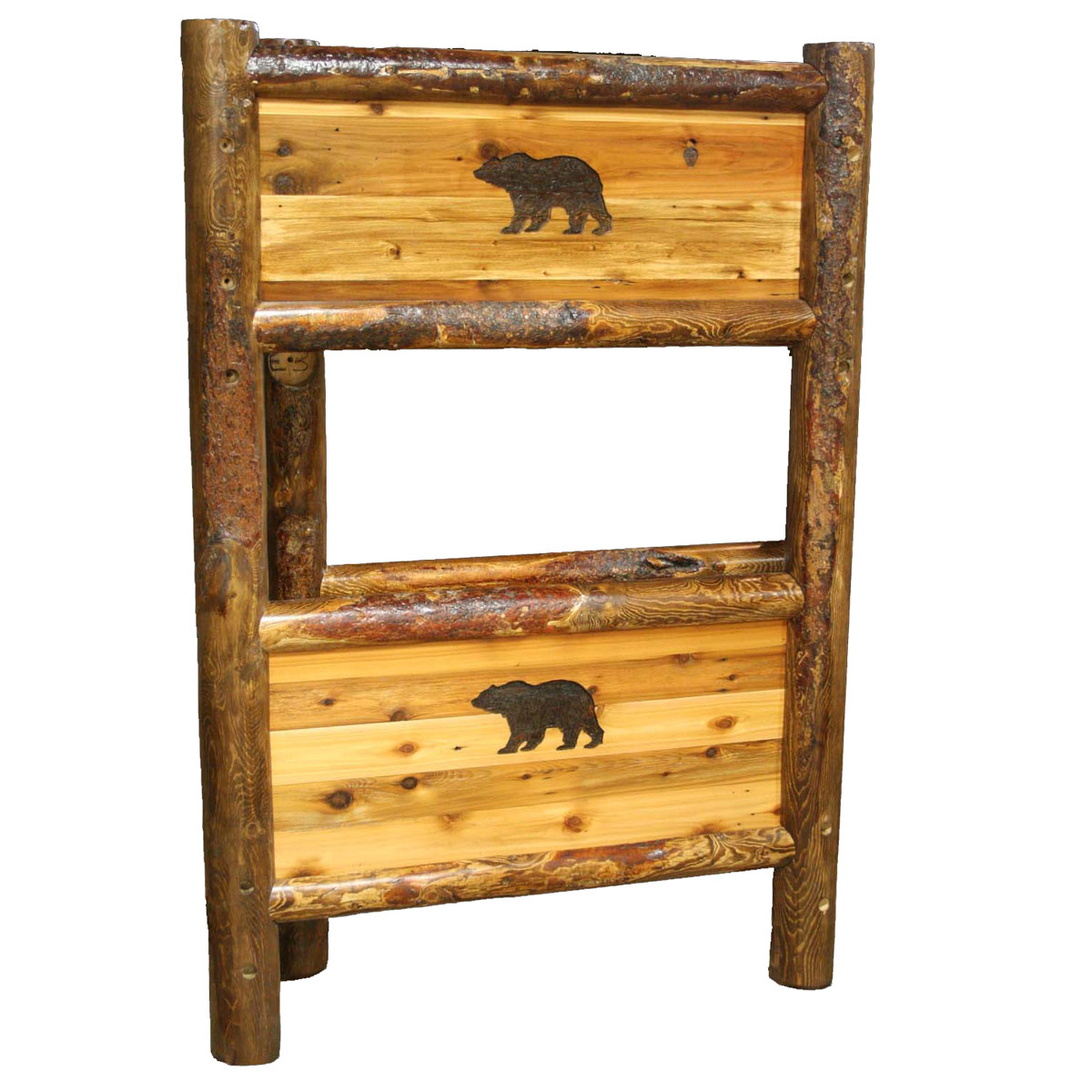 Black Forest Decor Barnwood bunkbed with bear carving - t...