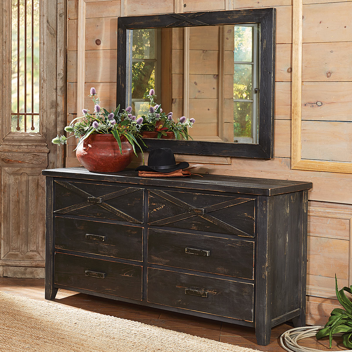 Black Forest Decor Barnwood double x dresser and mirror