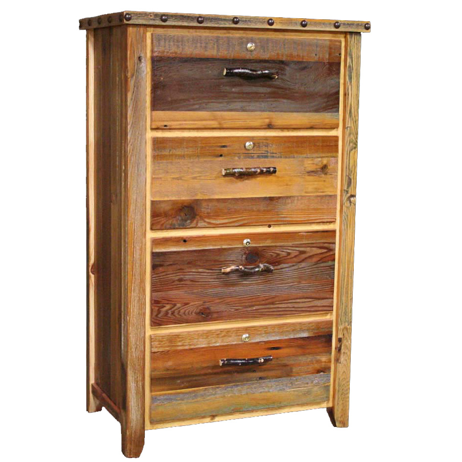Black Forest Decor Barnwood Locking Lateral Filing Cabinet With Nailheads 4 Drawer