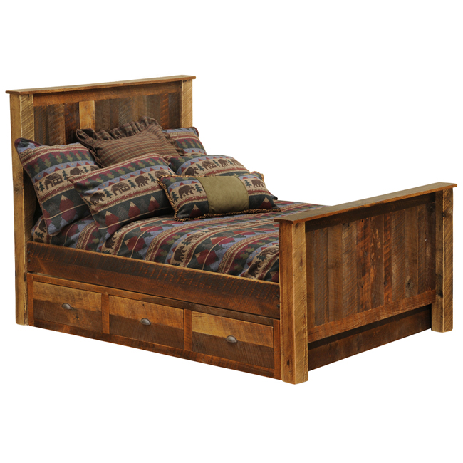 Black Forest Decor Barnwood traditional bed with underbed...