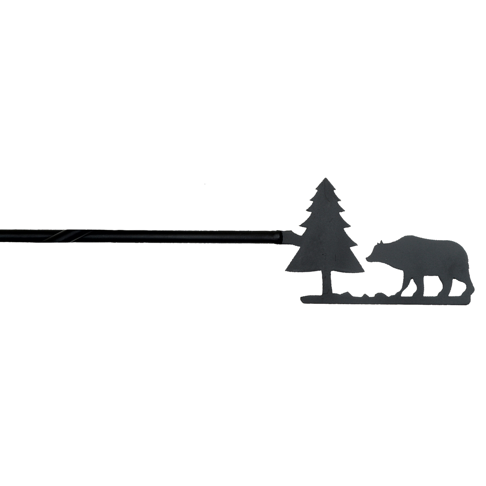 Black Forest Decor Bear & tree wrought iron curtain rod
