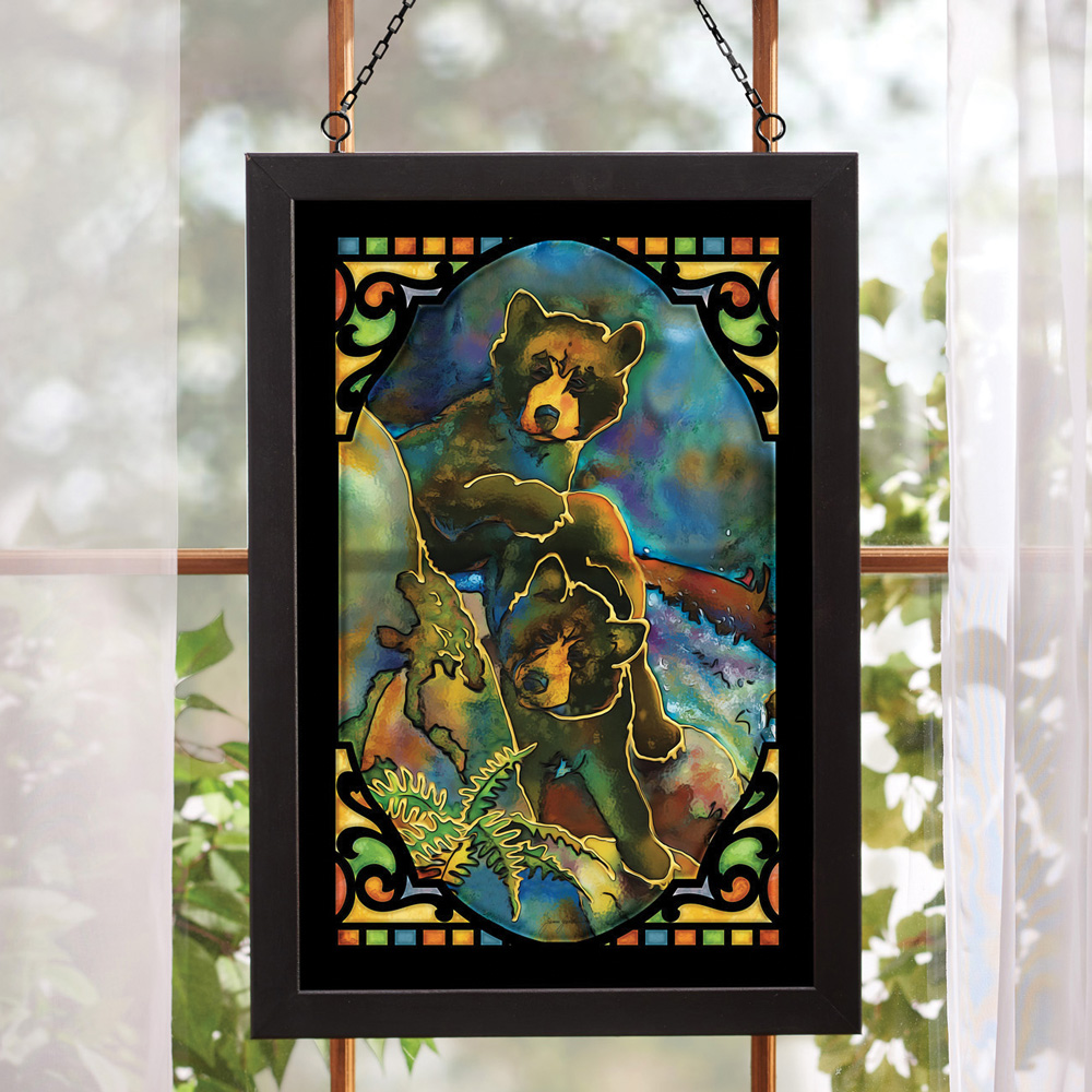 Black Forest Decor Bear cubs stained glass wall art
