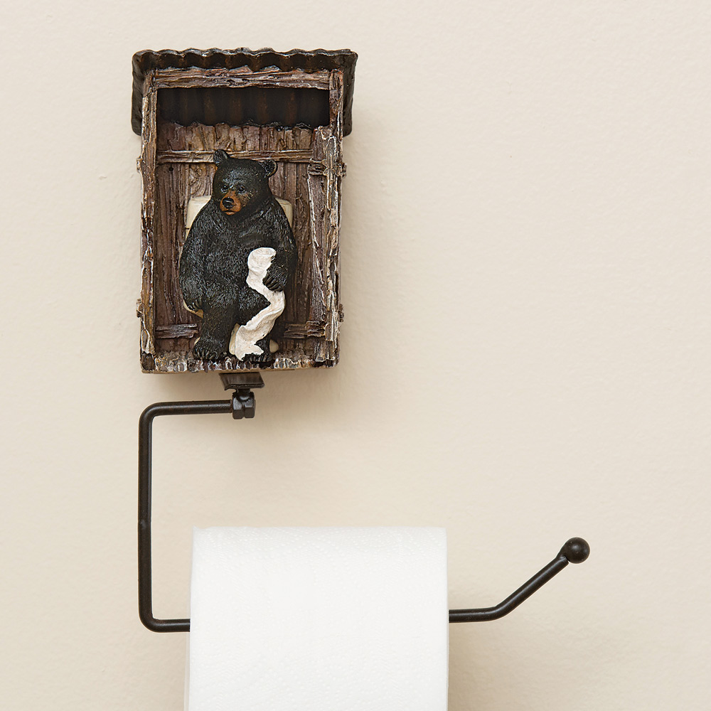 Black Forest Decor Bear outhouse toilet paper holder