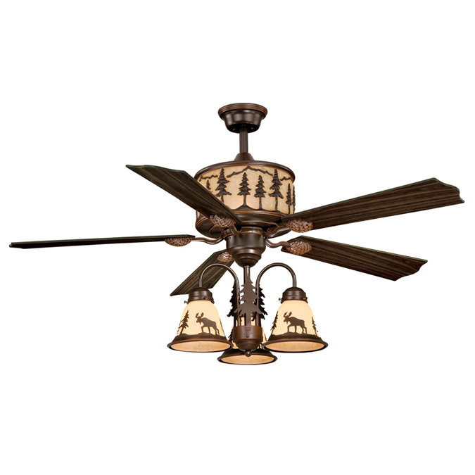 Black Forest Decor Big sky ceiling fan with moose and pin...