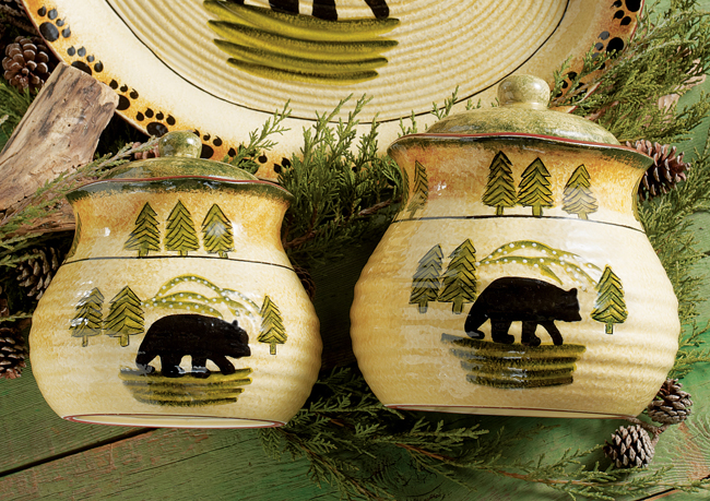 Black Forest Decor Black bear forest canister set - 3 pcs