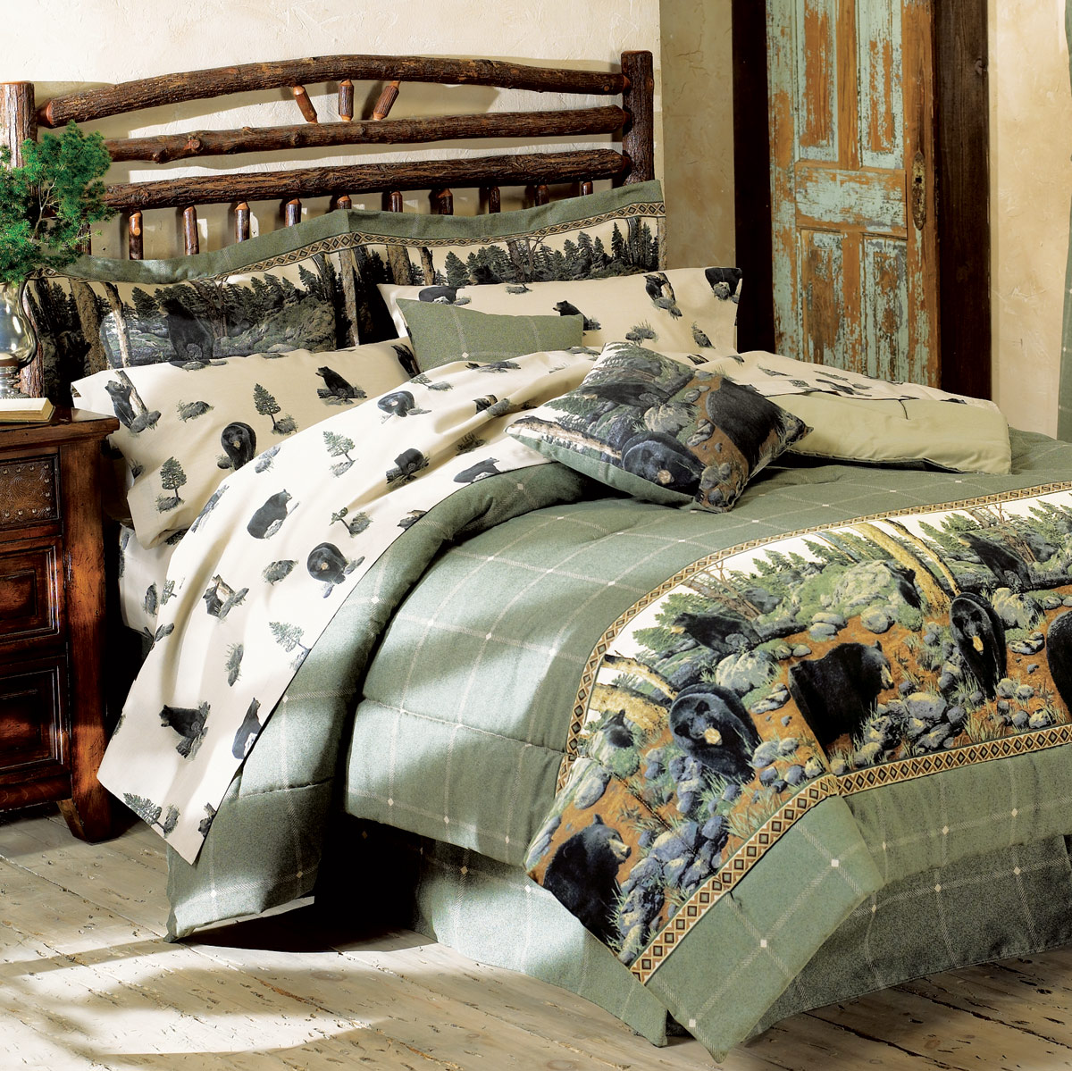 Black Forest Decor Black bear comforter set - king