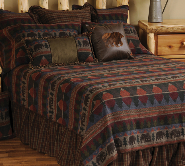 Black Forest Decor Cabin bear bedspread - queen
