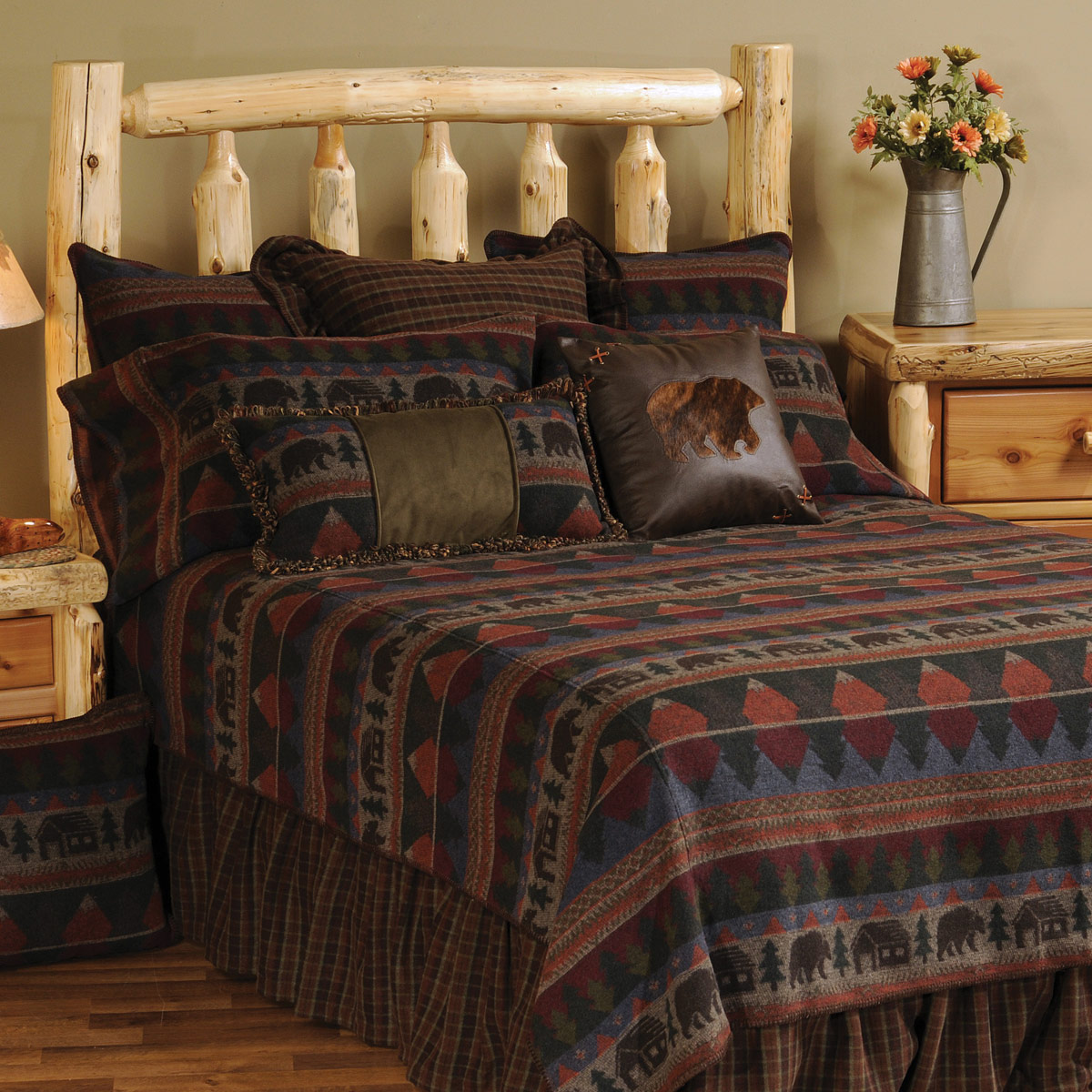 Black Forest Decor Cabin bear bedspread - super king