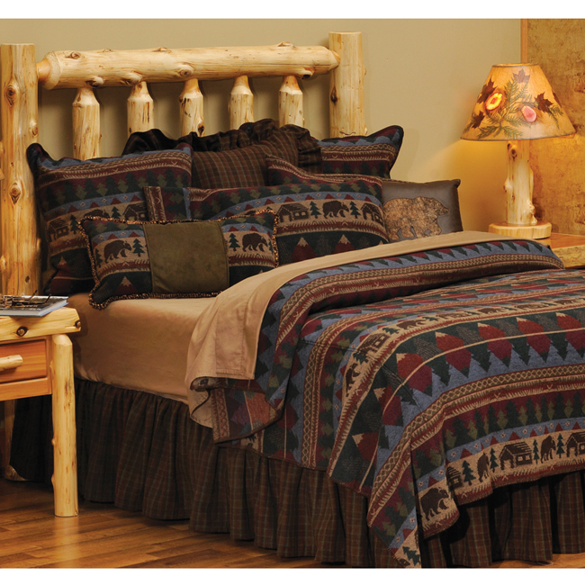Black Forest Decor Cabin bear deluxe bed set - super queen