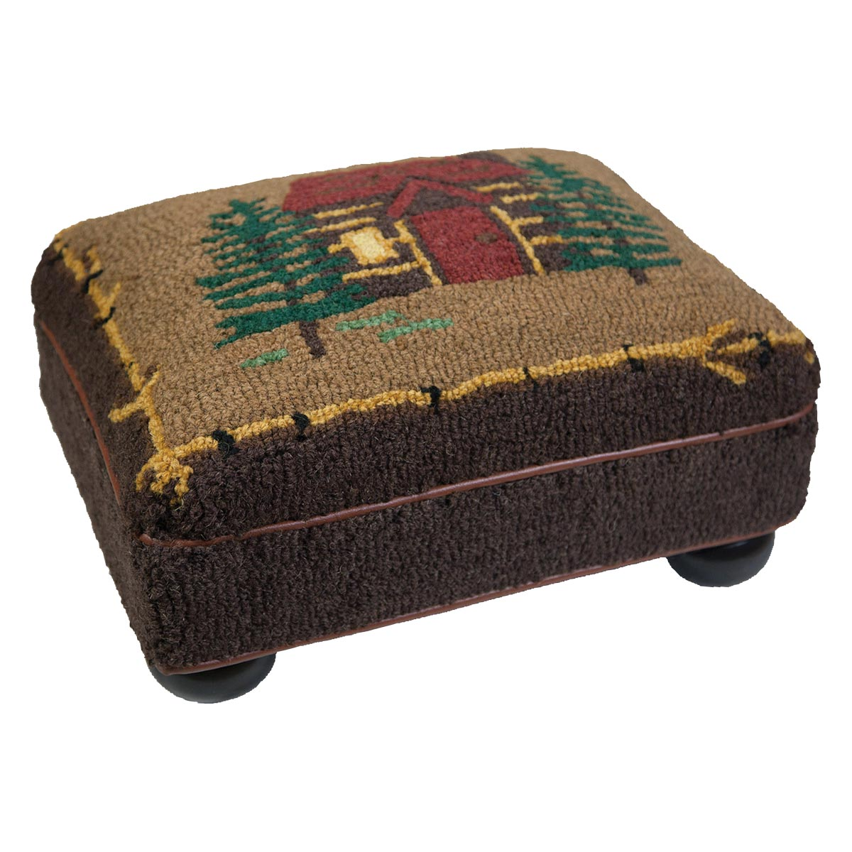 Black Forest Decor Cabin in the woods hooked top footstool