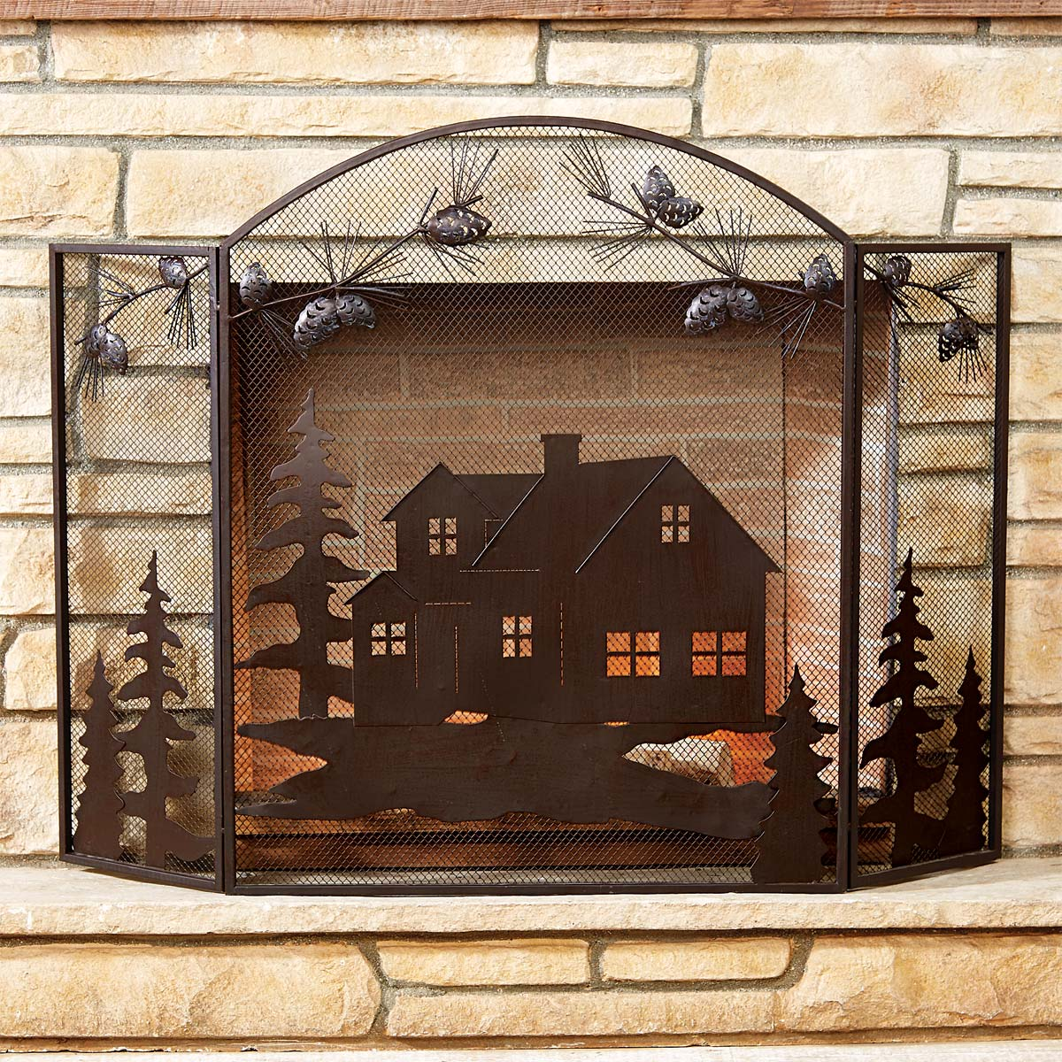 Black Forest Decor Cabin scene fireplace screen