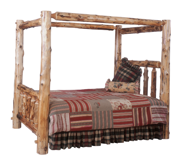 Black Forest Decor Canopy log bed - king