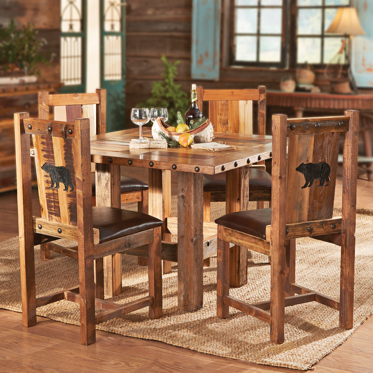 Black Forest Decor Carved bear barnwood table and chairs ...