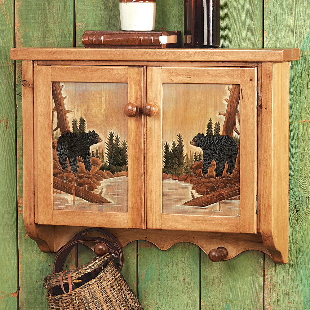 Black Forest Decor Carved wood bear wall cabinet