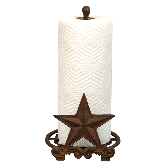 Black Forest Decor Cast iron star paper towel holder
