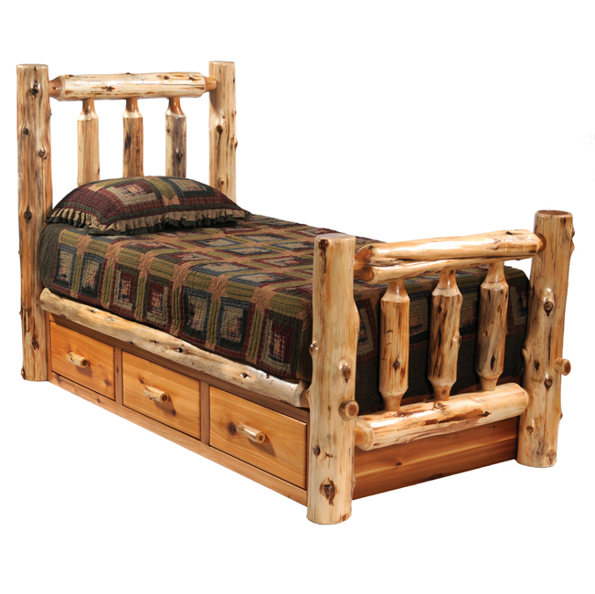 Black Forest Decor Cedar traditional log bed with underbe...