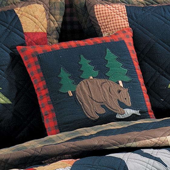 Black Forest Decor Timberline bear quilted pillow