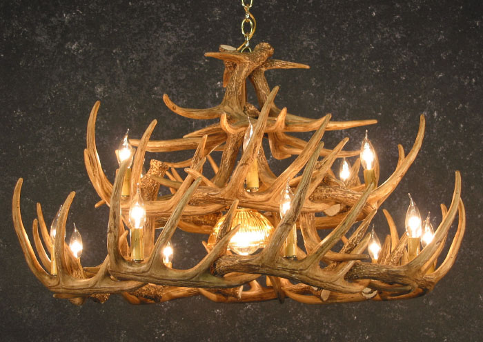 Black Forest Decor Whitetail 24 antler chandelier w/downl...