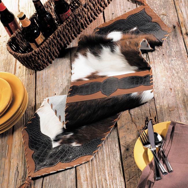 Black Forest Decor Cowhide & croc leather table runner - ...