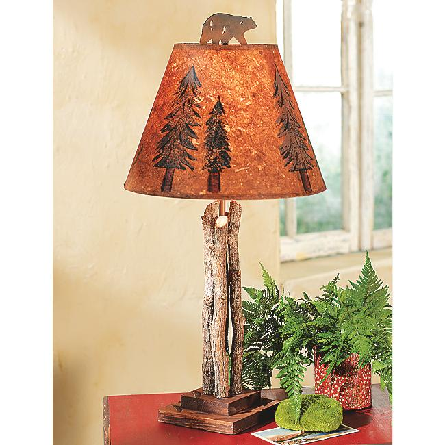 Twig Lamp twig table lamp with bear finial