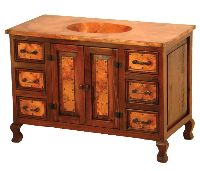 Black Forest Decor Two-door sink cabinet with copper - 6 ...